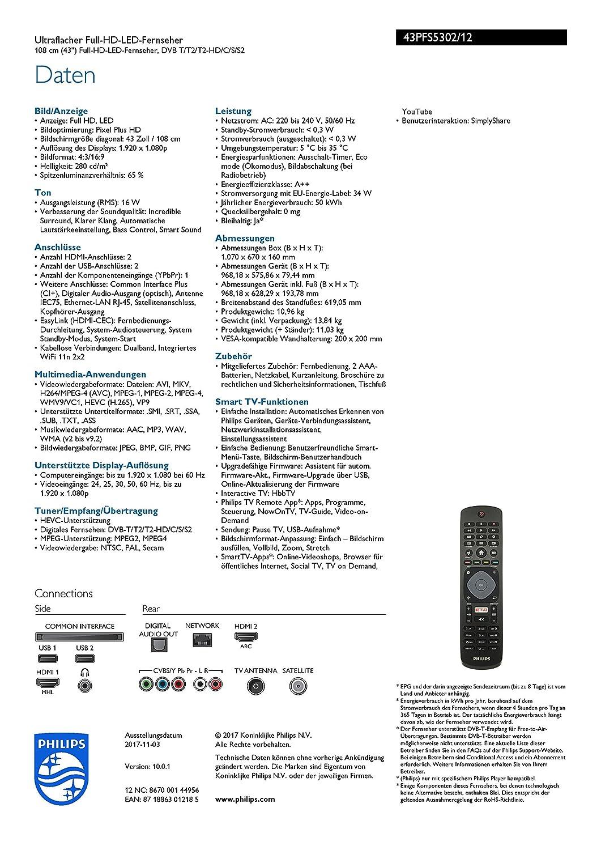 Philips 43PFS5302/12 108cm (43 Zoll) LED-Fernseher (Full