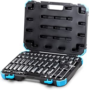 Capri Tools CP12320 3/8-Inch Drive Master Socket Set with Ratchets, Adapters and Extensions, 52-Piece