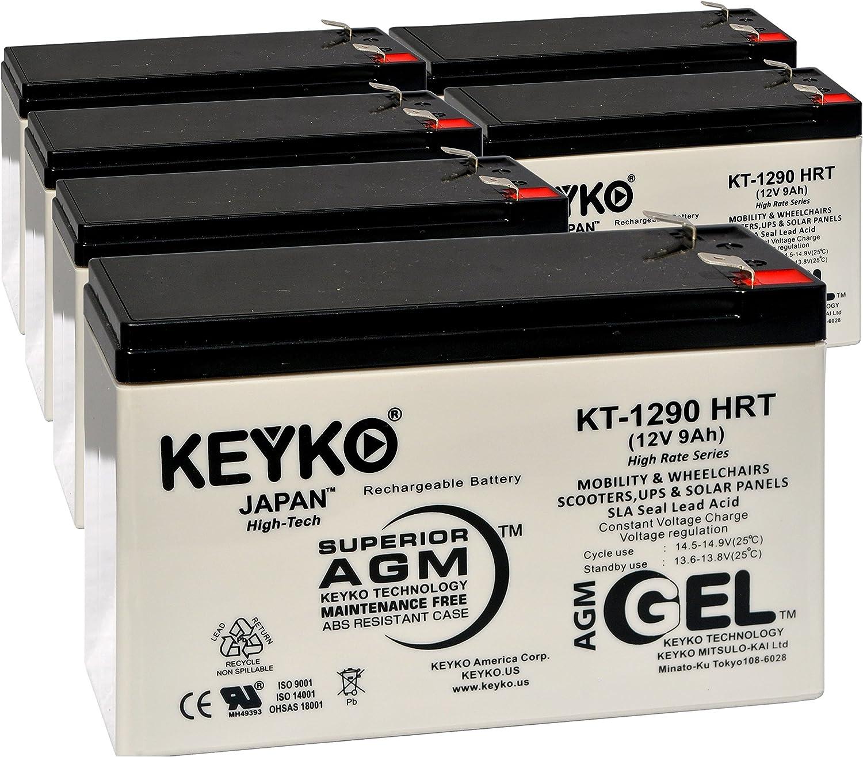 Batería PowerWare PWHR1234W2FR 12 V 9 Ah – Fresco y real 9 Amp – ciclo profundo AGM/SLA Seal plomo ácido diseñado para fuente de alimentación ininterrumpida – Genuine KEYKO KT-1290 HRT –