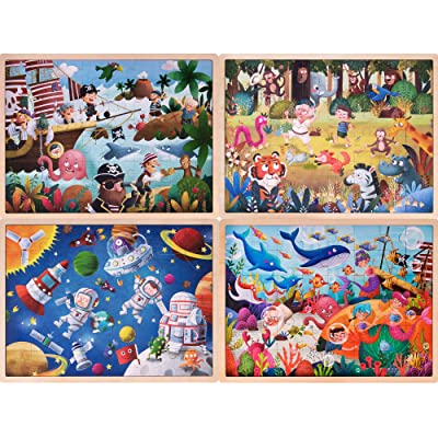 "Ollie & Mr. Noodle Puzzle Bundle | Safari, Sea Animals, Space Astronauts, and Pirates | 15.75"" x 12\"" Jigsaw Puzzles (48 Pieces) Kids Early Learning, Educational Fun: Toys & Games [5Bkhe1103689]"