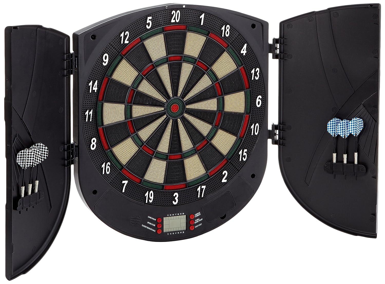 oneConcept Dartomat diana electrónica con 26 juegos (tablero de dardos electrónico Softtip, 8 jugadores, 70 variantes, altavoz, incluye 6 dardos, punta blanda con recambios, apto pared)