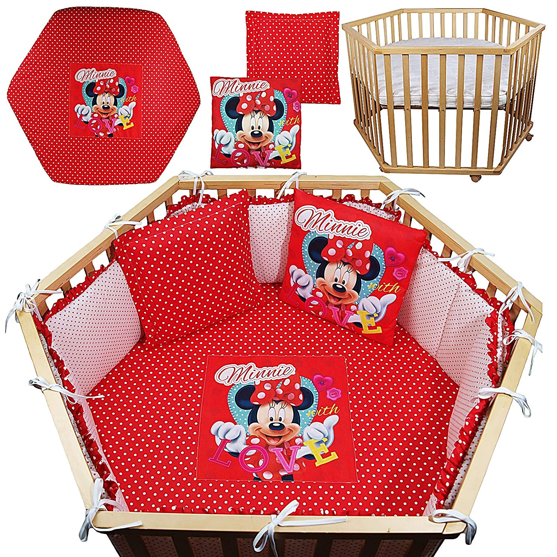 4-tlg.Set Minnie Mouse Spannbettlaken + Nestchen + 2 x Kuschelkissen Laufgittereinlage für 6-eckiges Laufgitter Matratze 105x120cm mit (ohne Matratze, ohne Laufgitter) (Rot)