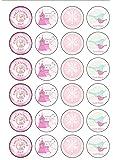 24décorations rondes en papier comestible pour décoration de baptême pour bébé fille