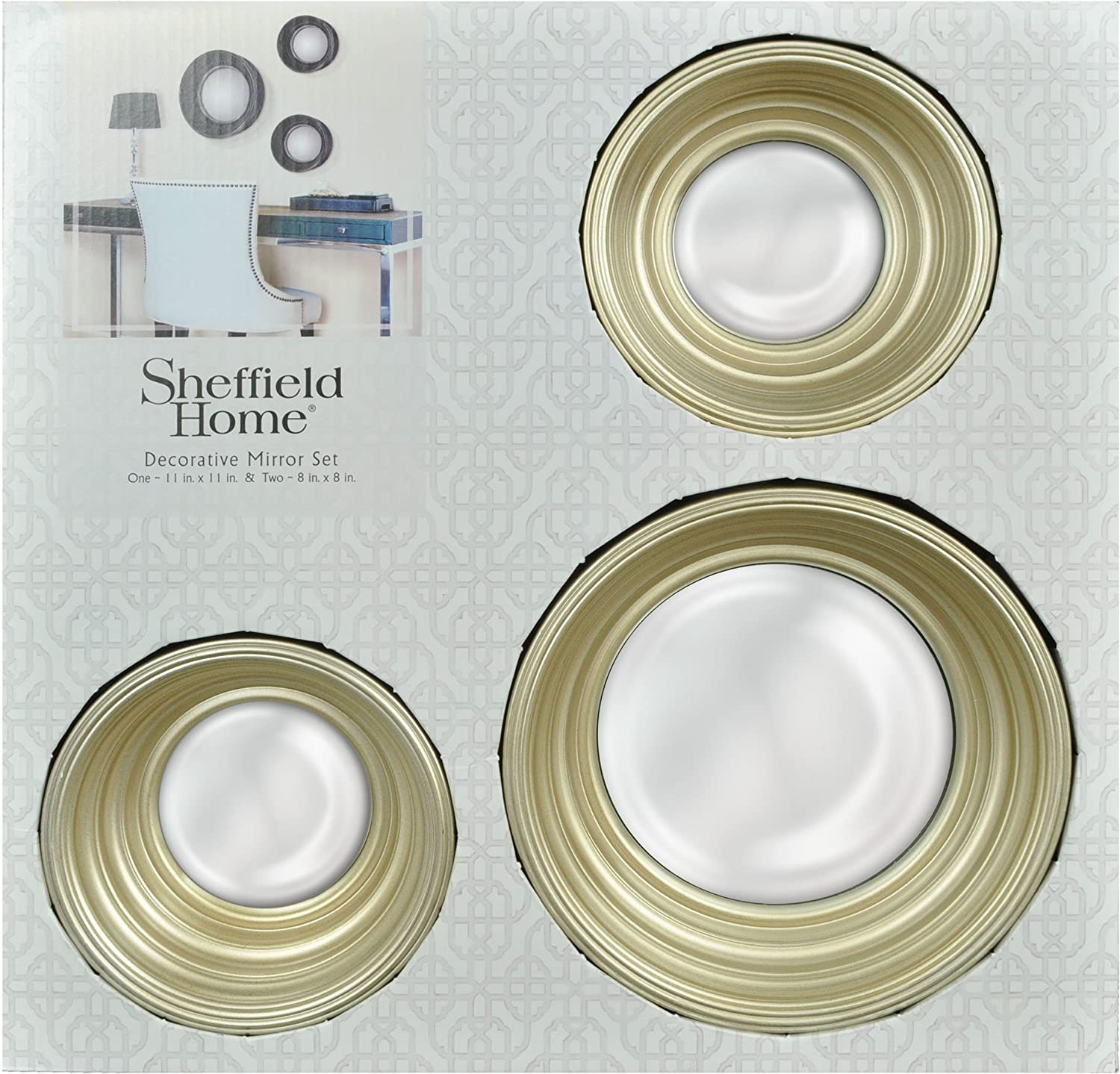 Framed Round Wall Mirrors Set Of 3 Champagne Amazon Co Uk Kitchen Home