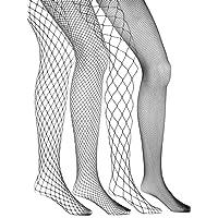 4 Pairs Fishnets Stockings Fishnet Tights Fishnet Pantyhose Cross Mesh Stockings Pantyhose for Women, Black