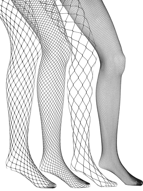 Nero 4 Paia Calze a Rete da Pesca Collant a Rete Calze Calzamaglie a Rete Croce Maglia Calze Collant da Donna