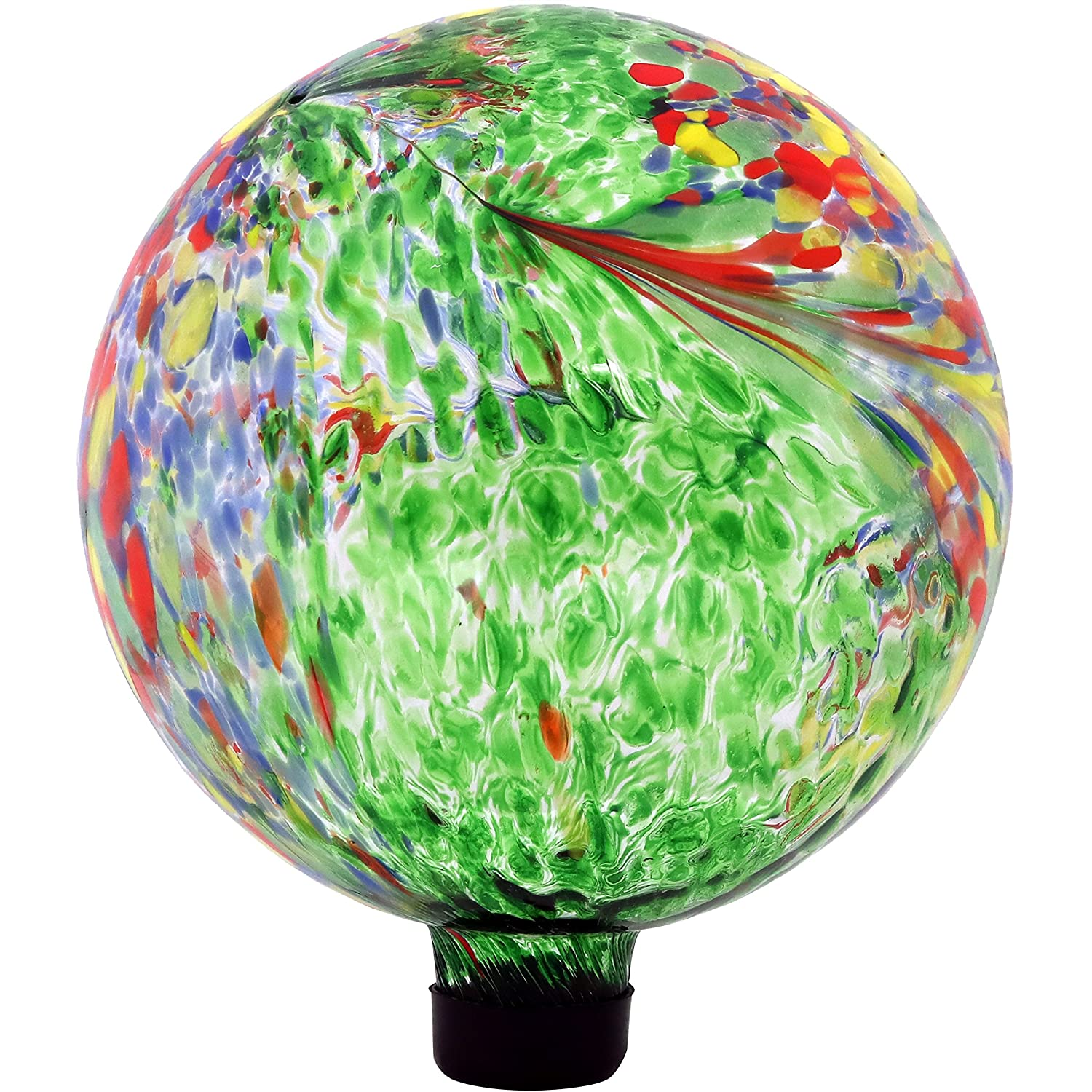 Sunnydaze Green Artistic Gazing Globe Glass Garden Ball, Outdoor Reflective Lawn and Yard Ornament, 10-Inch