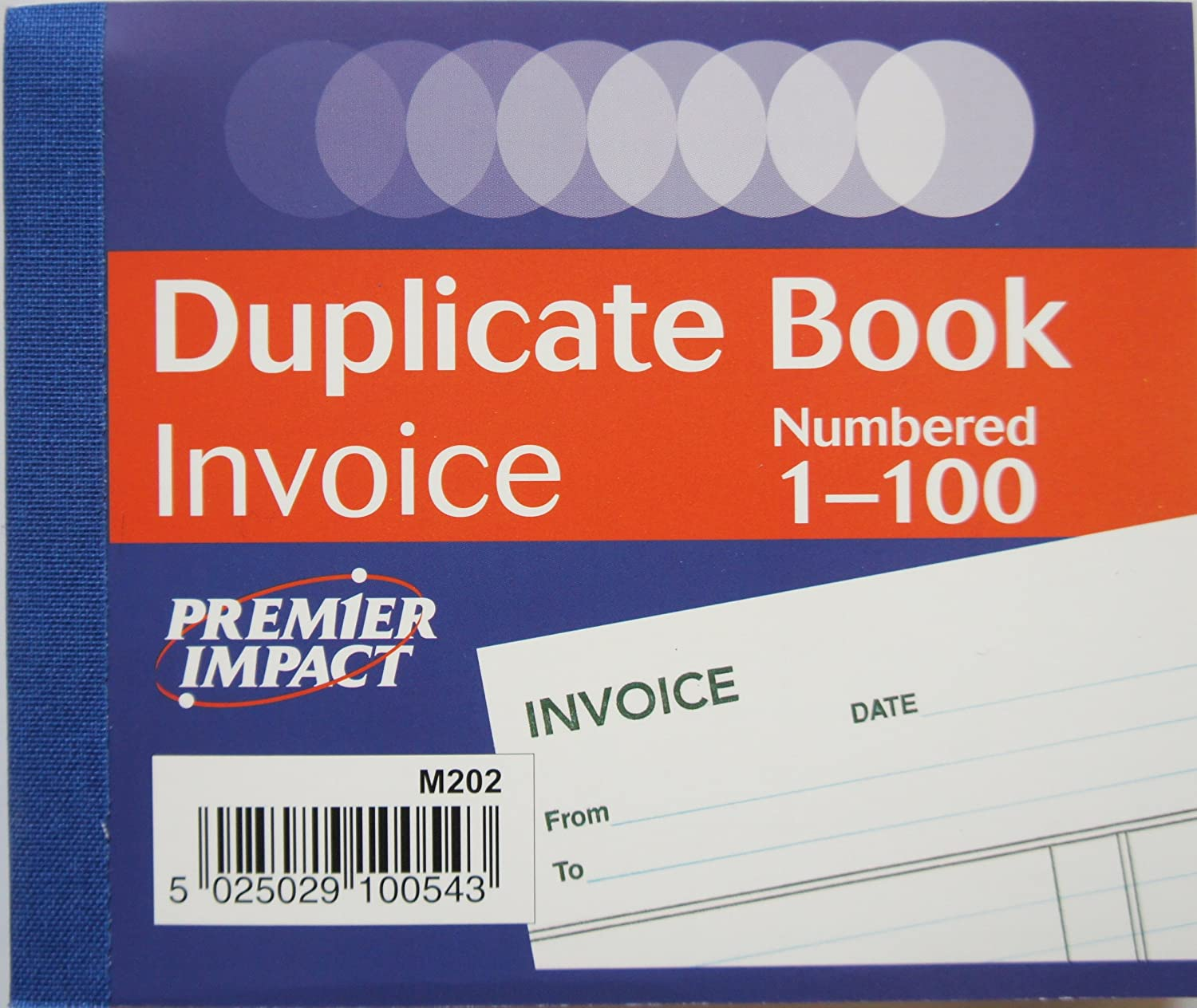 PREMIER IMPACT DUPLICATE CARBON INVOICE BOOK NUMBERED 1-100