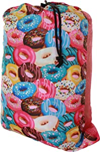 Gilbin Matching Mesh Laundry Or Sock Bag with Drawstring for Sleep Away Camp (Laundry Bag, Donuts)