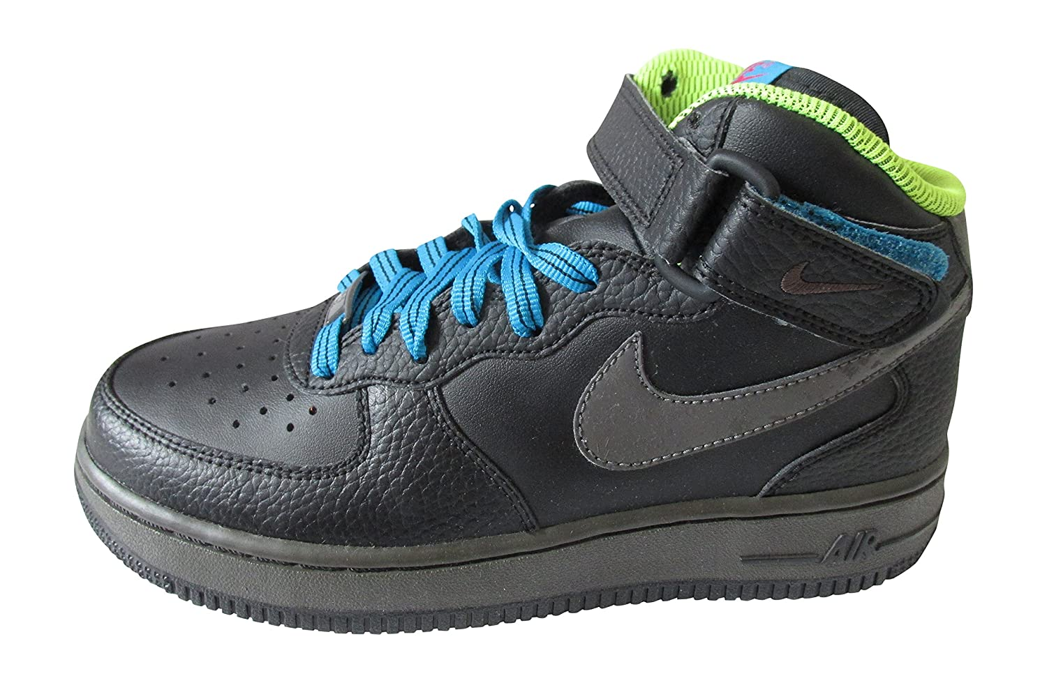 41506f6230f8 Amazon.com | Nike air Force 1 mid (GS) hi top Trainers 314195 Sneakers Shoes  (UK 4.5 us 5Y EU 37.5, Black mid Fog Dynamic Blue Volt 017) | Running