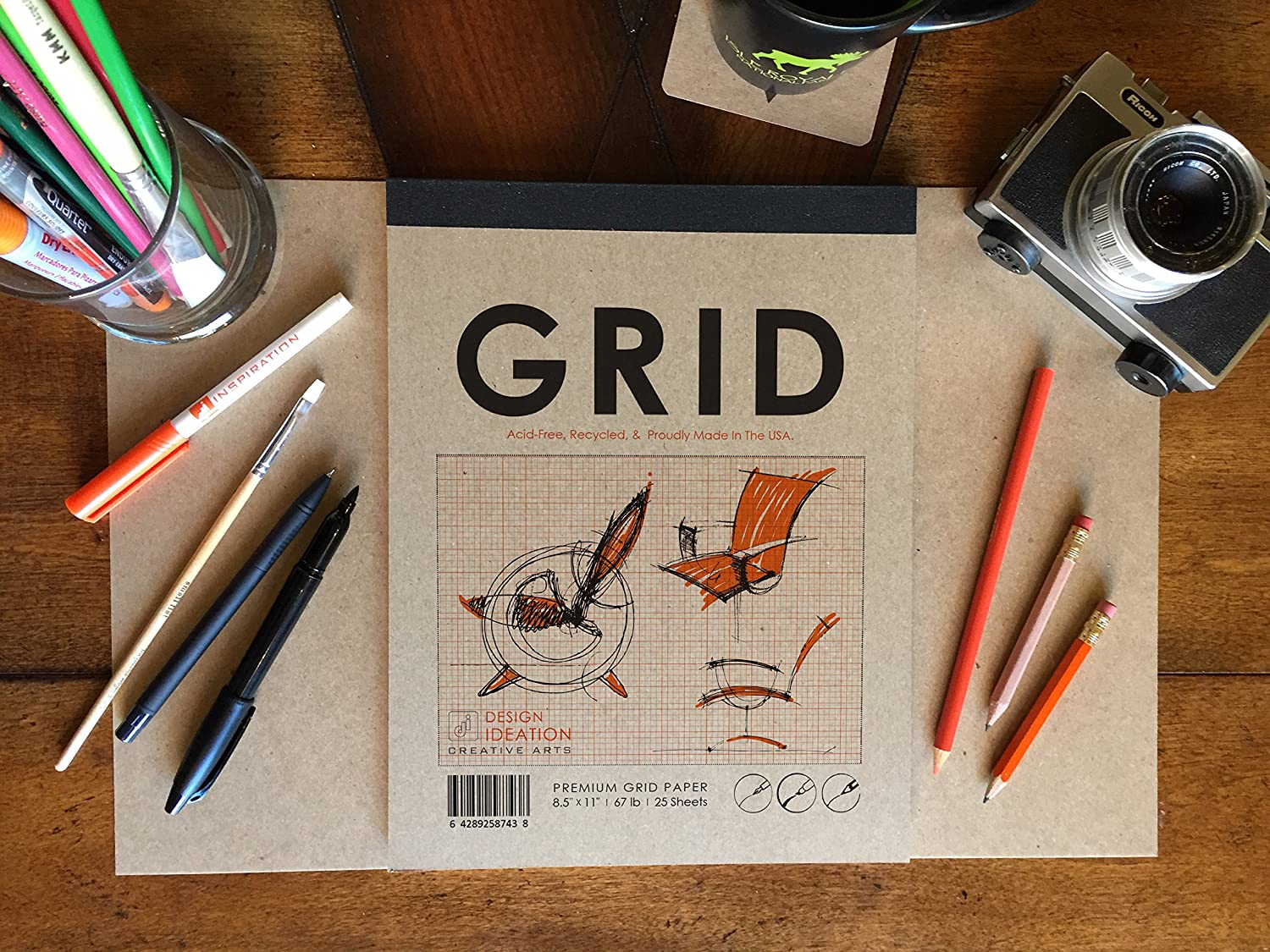 Marker and Watercolor Paints 25 Sheet Pack. Design and Education Design Ideation Multi-Media Grid Paper : Creative Project Grid Paper for Pencil 1//4 Box Grid Orange Ink Great for Art