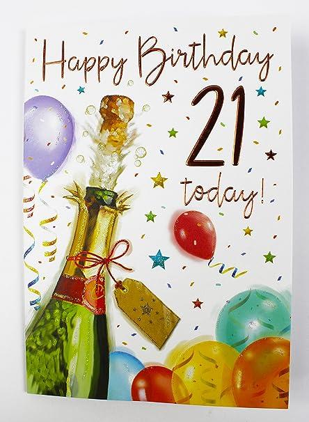 Happy 21st cumpleaños tarjeta de felicitación niños para él ...