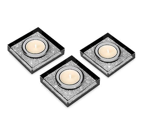 Edle Teelichthalter Lotus 1 Mit Swarovski Elements Kristallen Funkelnde Tischdeko Moderne Dekoration Wohnung 3er Set Schwarz