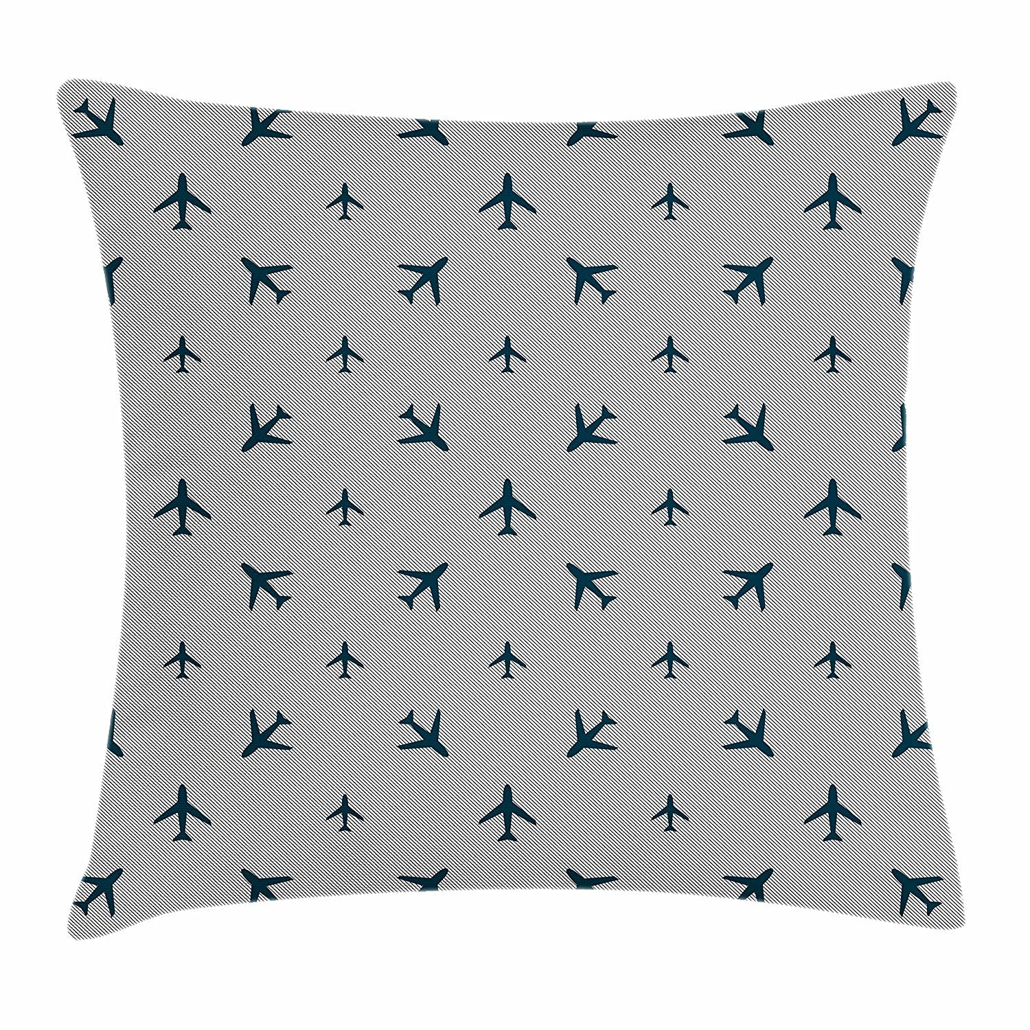 Airplane Throw Pillow Cushion Cover, Diagonal Stripes with Blue Travel Icons Silhouettes Vacation Aviation, Decorative Square Accent Pillow Case, 18 X 18 inches, Petrol Blue Black White Cool pillow