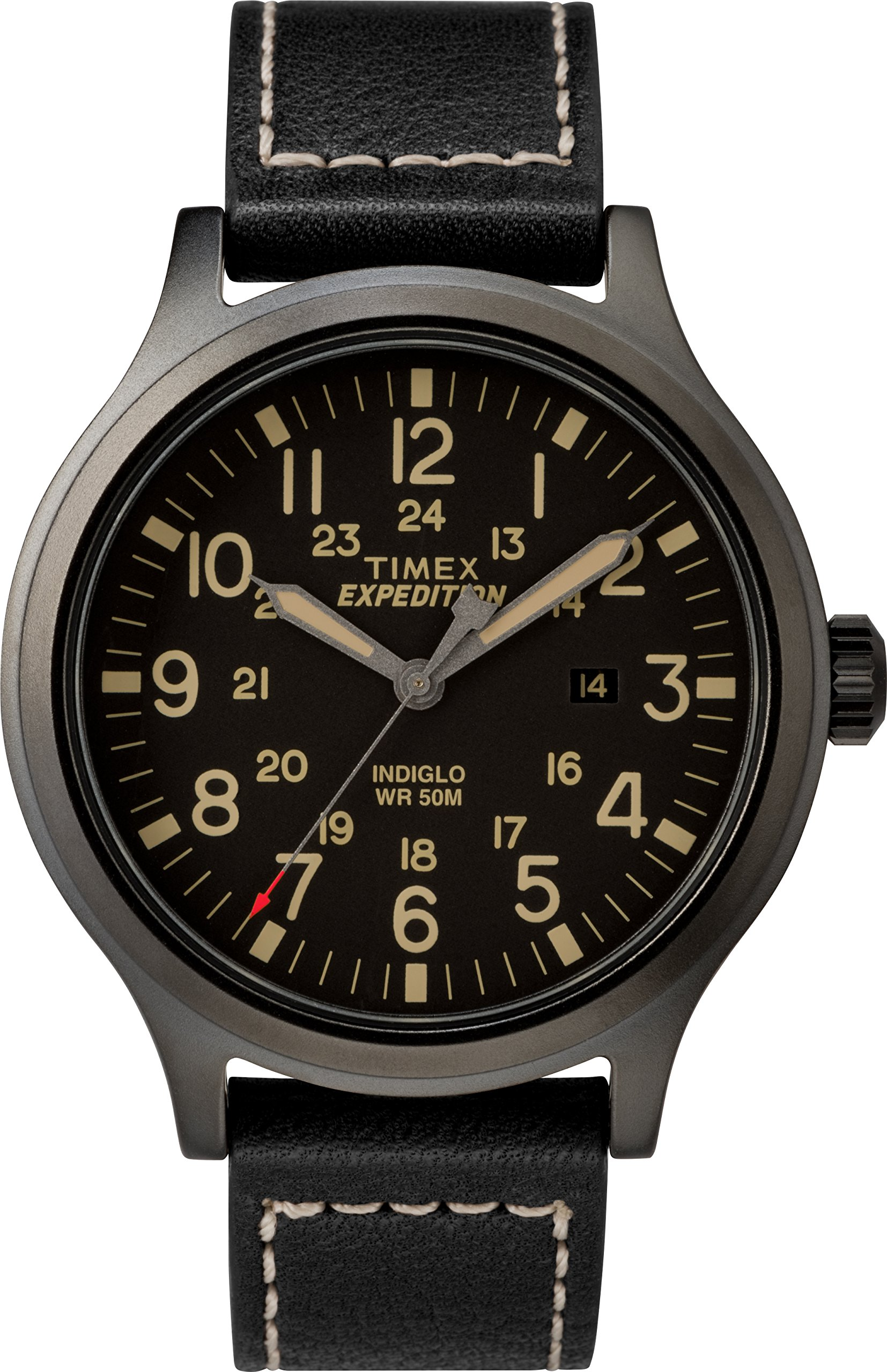 f54456ff1 Timex Men's TW4B11400 Expedition Scout 43 Black Leather Strap Watch ...