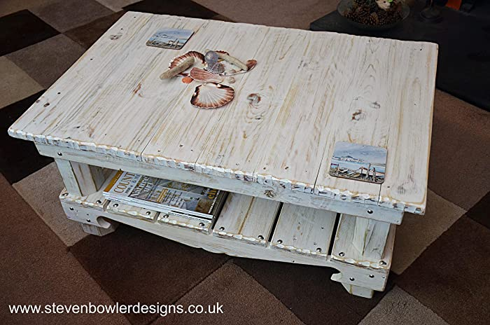 Bespoke White Coastal Coffee Table With Driftwood Effect
