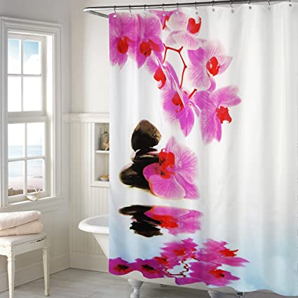 Lushomes Digital Flower Shower Design Shower Curtain with 12 Eyelets and 12 Hooks (Single pc, 71'' x 78'', 180 x 200 cms)
