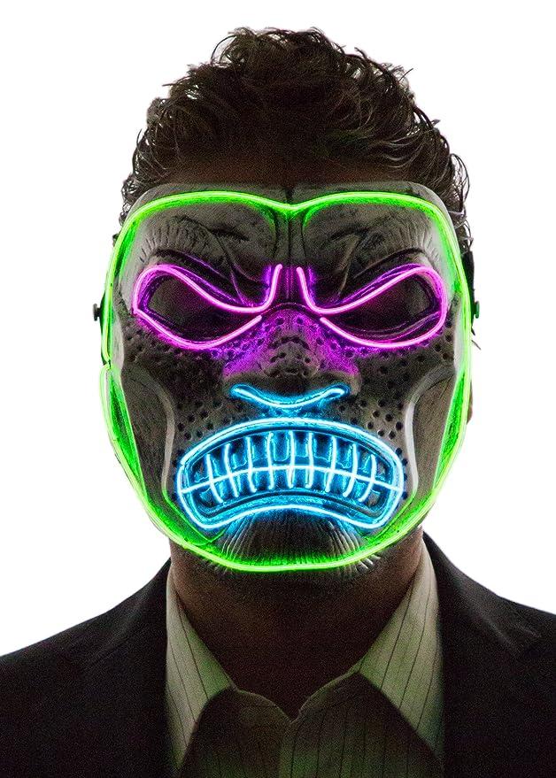 Máscara co luz led de gorila disfraz halloween