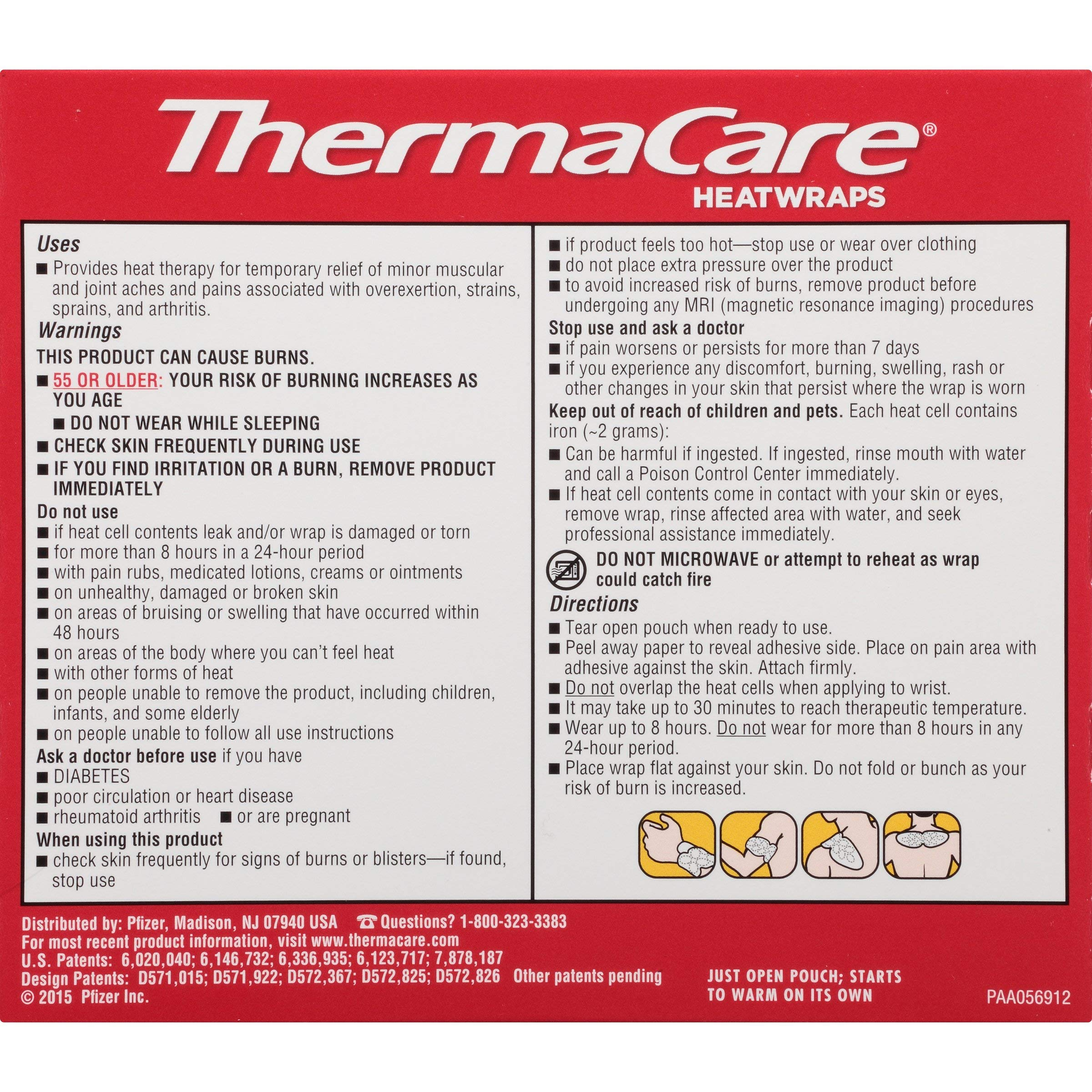 ThermaCare Air-Activated Heatwraps, Neck, Wrist & Shoulder, 3 HeatWraps (Pack of 5) by ThermaCare