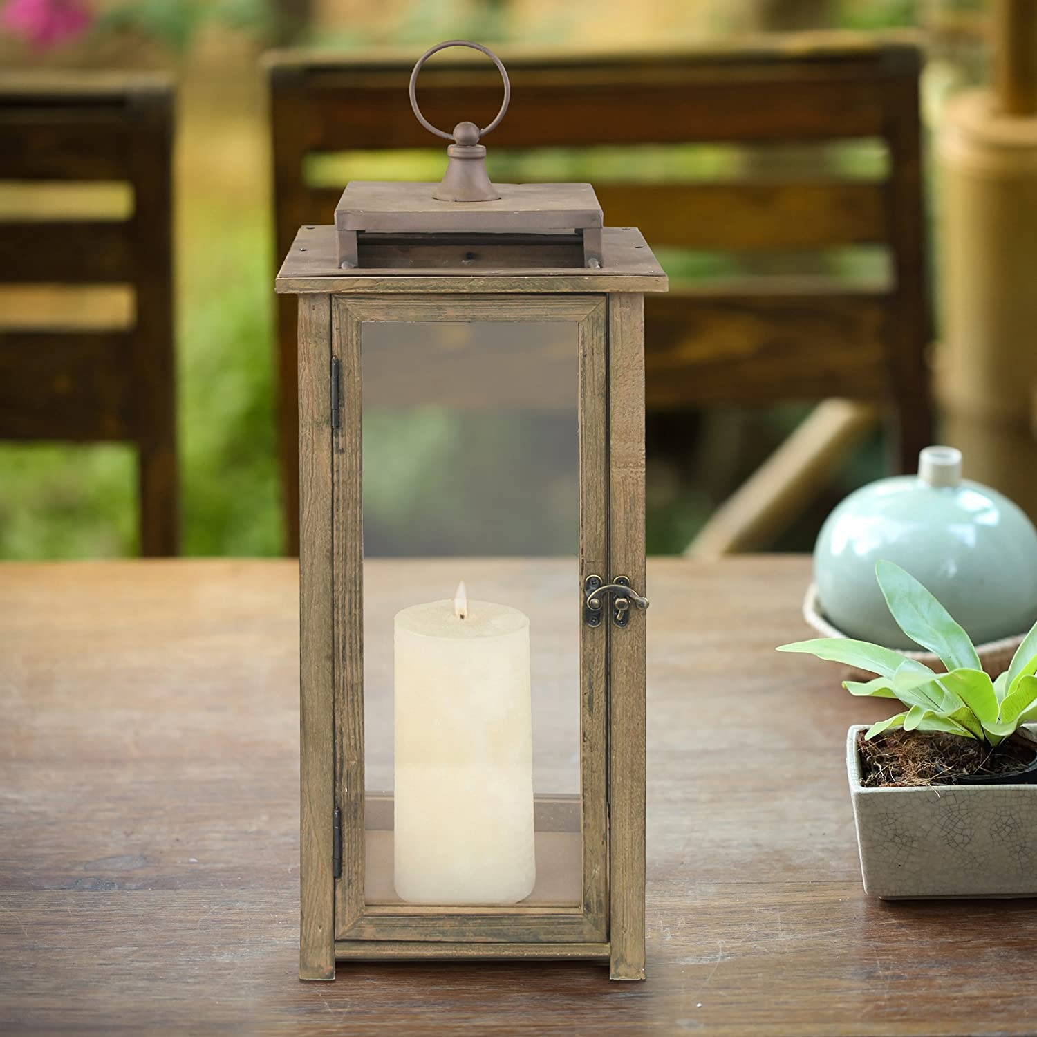 Mantle Extra Large CKK Home Decor SB-5174C or Garden Display Indoor /& Outdoor Use For Table Top Stonebriar 18 Inch Rustic Wooden Candle Hurricane Lantern Wall Hanging