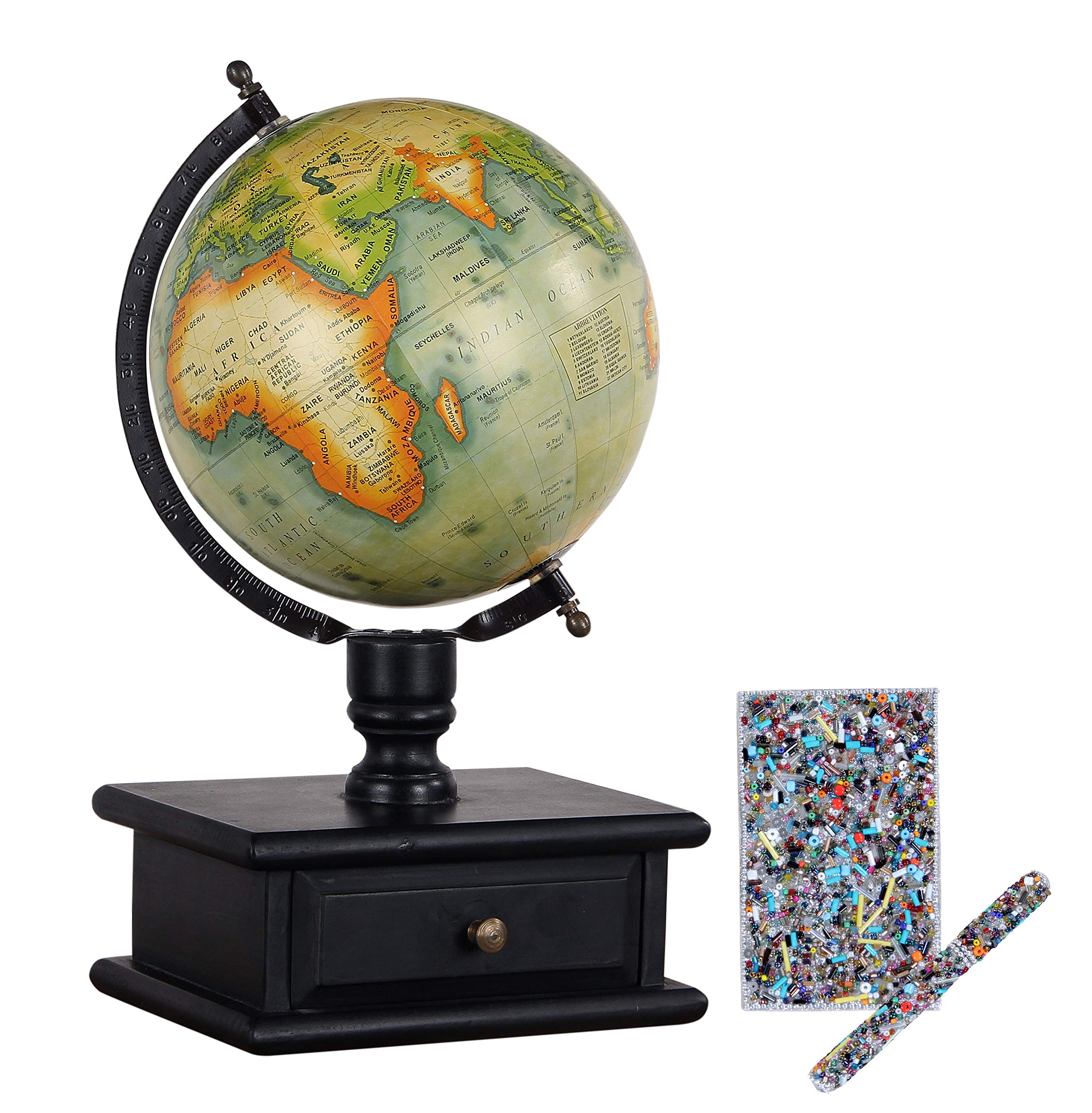 Decoriny Kandy Vintage Wooden Storage Drawer Globe with Decorative Pen and Diary Set Globe, Green