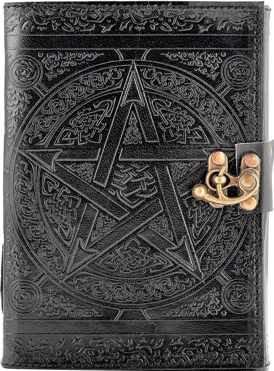 Urban Leather Pentagram Star Journal, Black Book of Shadows Witchcraft Wiccan Spellbook, Unlined