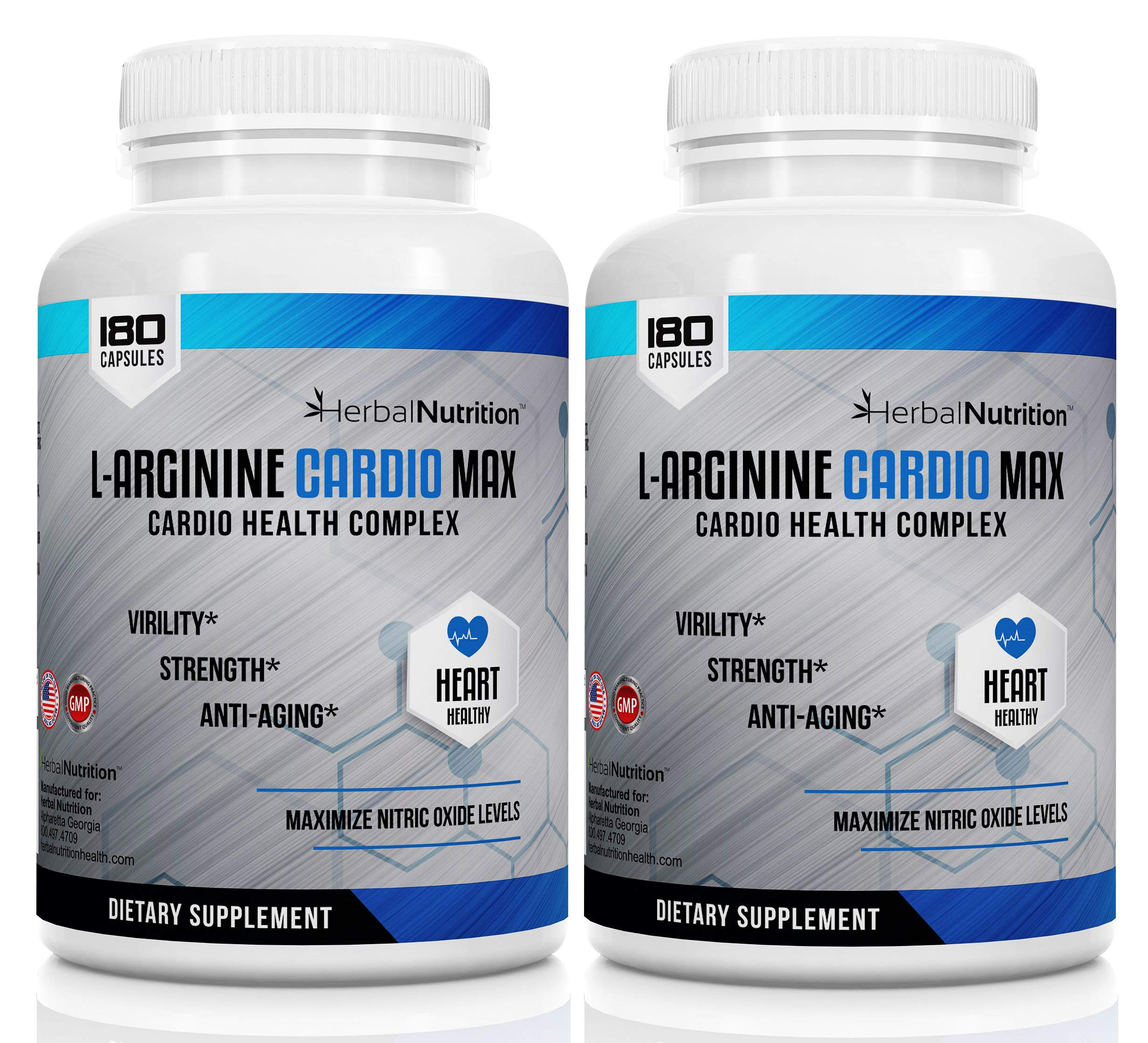 L-Arginine Cardio Max | 1500mg Cardio Support Blend | Two Bottles 360 Caps | LUS L-Citrulline, Vitamins, Minerals Support Cardio Health, Blood Pressure, Cholesterol, Energy, Nitric Oxide | Ships Free