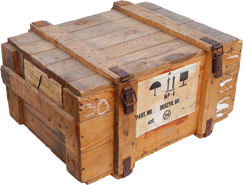 Caja de transporte Natural bruto Almacenamiento pecho ca 78x59x41cm peso aprox. 25kg Pecho de militar Munitionsbox Caja de madera Caja de Madera Caja de vino Cajón de manzana Shabby Vintage: Amazon.es: Jardín