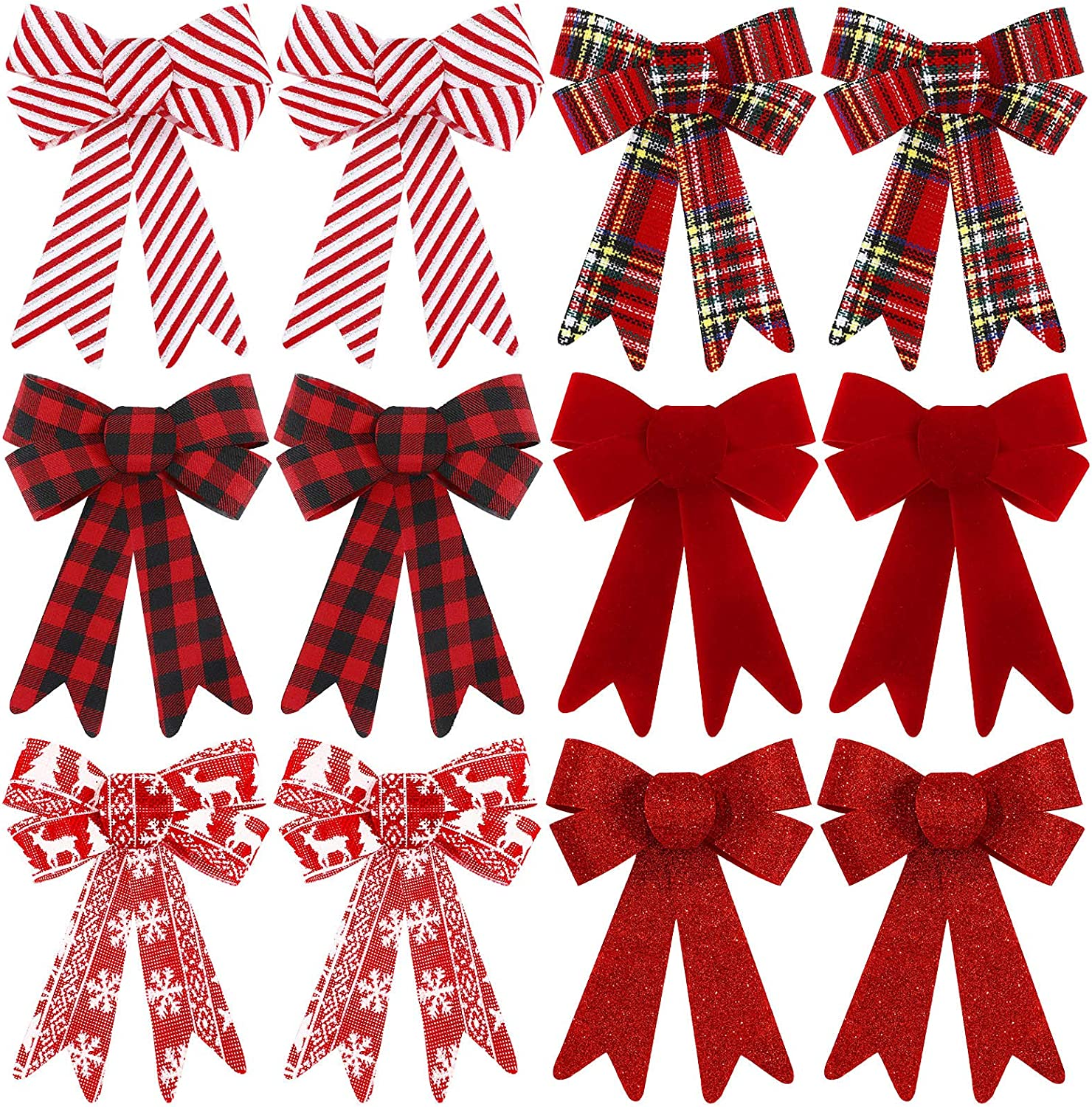 WILLBOND 12 Pieces Buffalo Plaid Bows Christmas Wreaths Bows Decorative PVC Bows Red Black Check Bows for Christmas Indoor Outdoor Decorations, 6 Styles, 5 x 7 Inch
