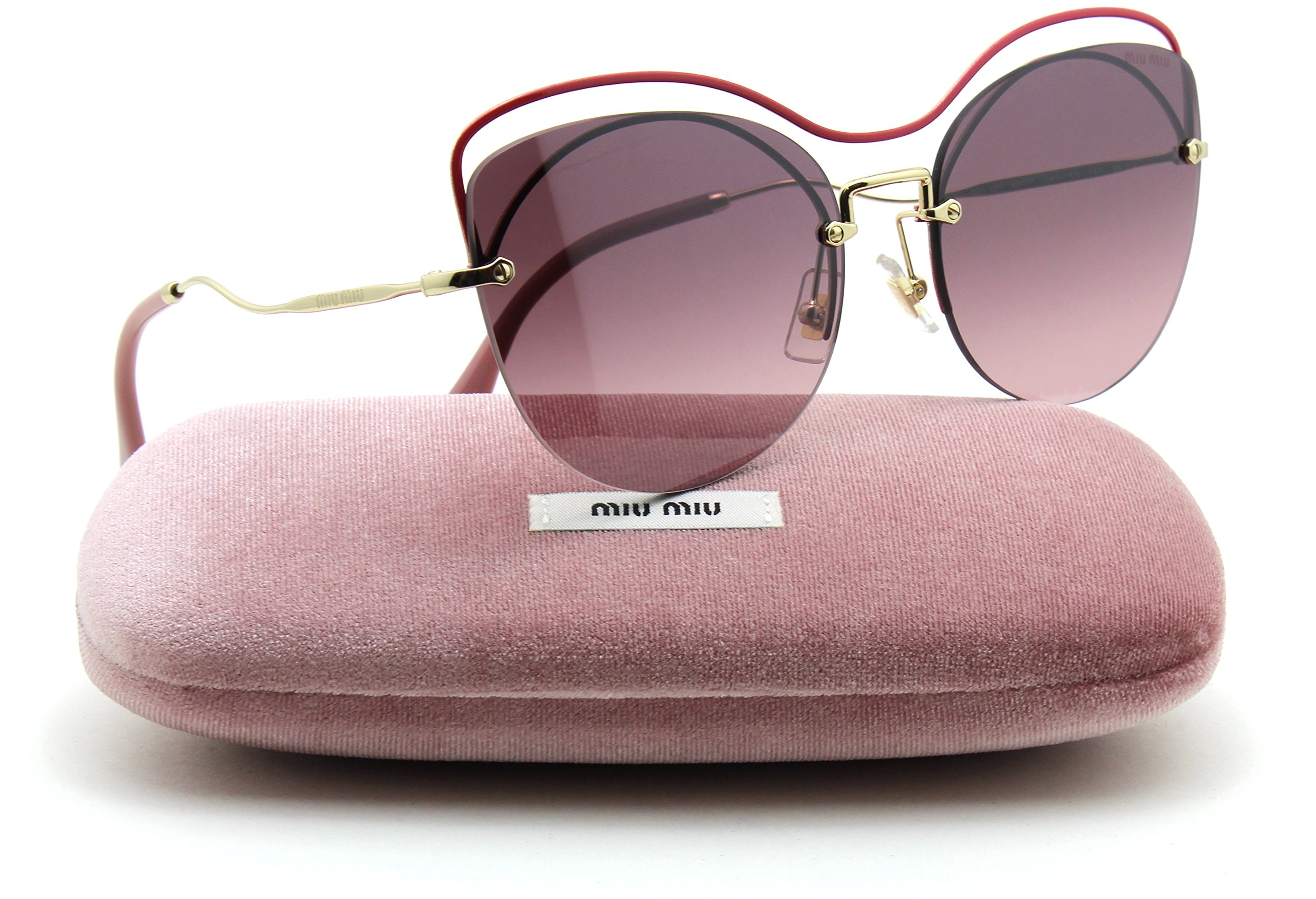 ceb0e837d Galleon - Miu Miu MU 50TS SCENIQUE Collection W/Top Bar Rimless Women  Sunglasses (Raspberry, Gradient Pink Mirror C4O-TEG)