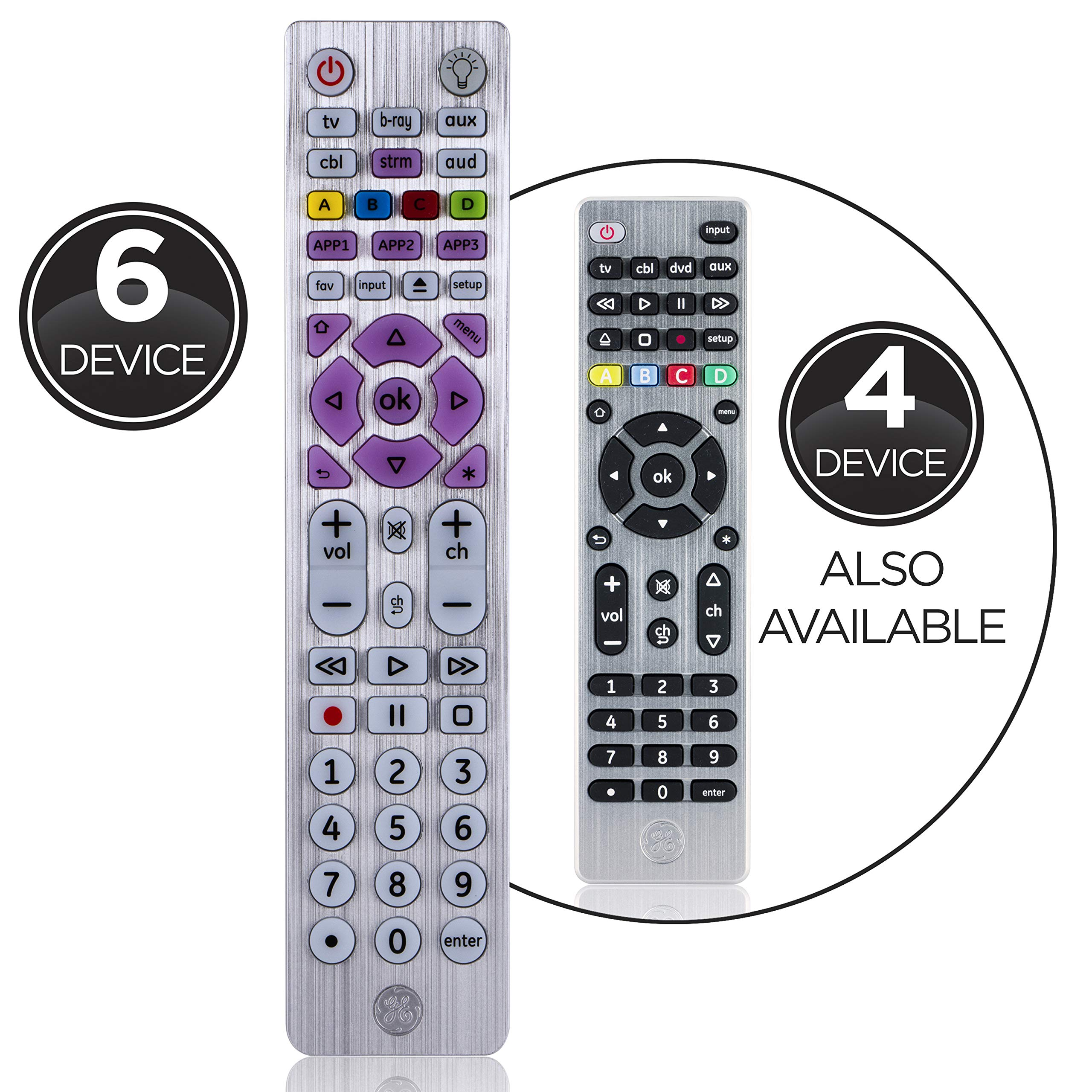 GE Universal Remote, Backlit, for Samsung, Vizio, Lg, Sony, Sharp, Roku, Apple TV, Smart TVs, Streaming Players, Blu-Ray, DVD, Master Volume Control, Simple Setup, 6-Device, Black, 37038 by GE