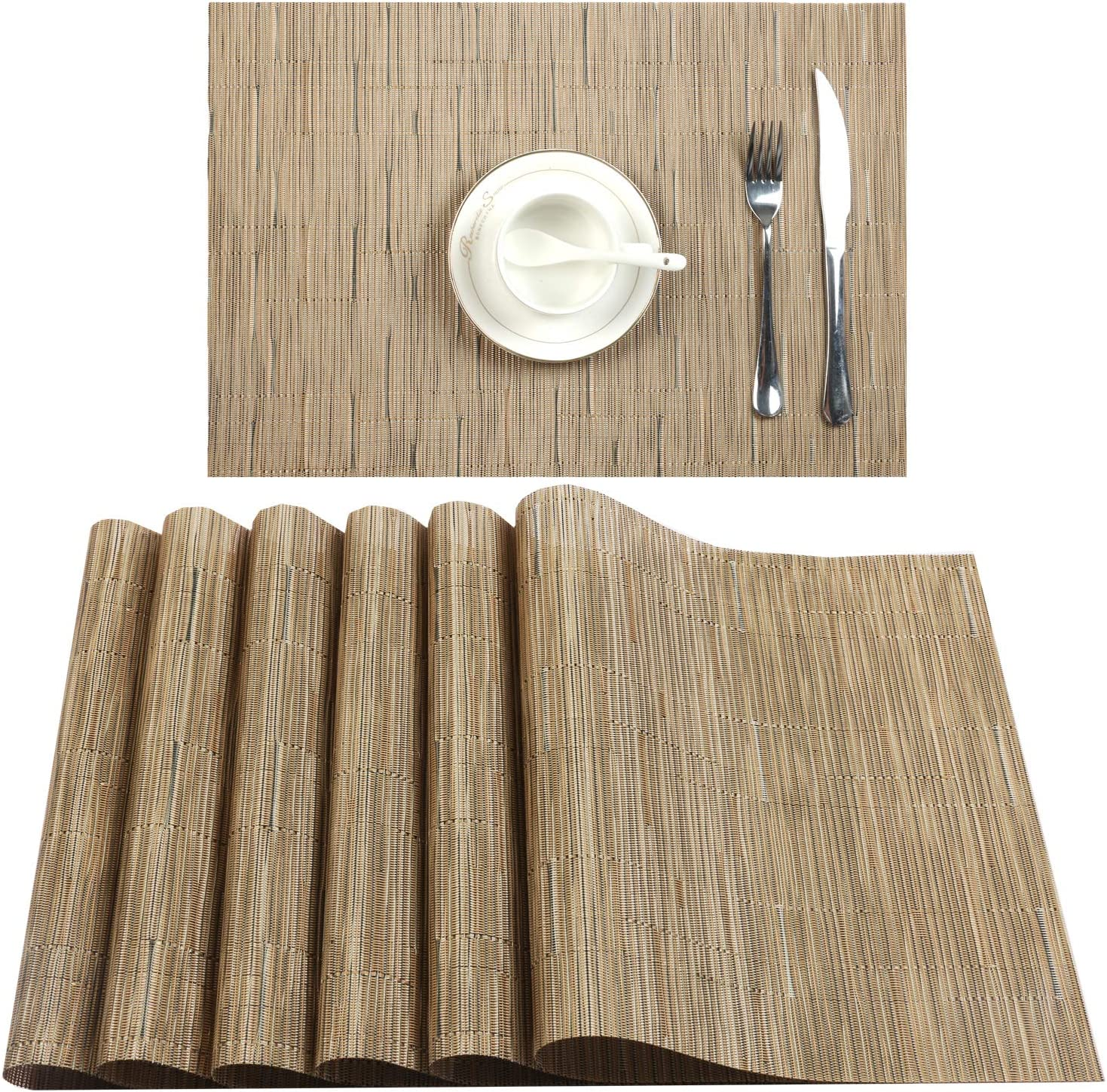 U'Artlines Placemat, Crossweave Woven Vinyl Non-Slip Insulation Placemat Washable Table Mats Set (6pcs placemats, B Beige)