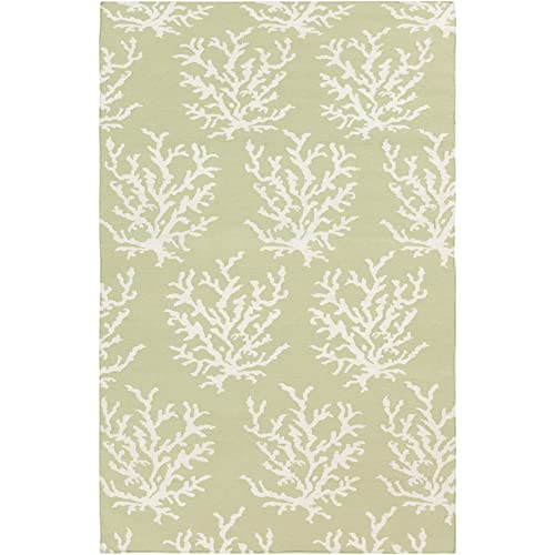 Somerset Bay by Surya Boardwalk BDW-4009 Coastal Flatweave Hand Woven 100 Wool Lettuce Leaf 5 x 8 Area Rug