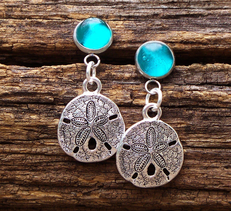 Recycled Vintage Mason Jar Glass Sand Dollar Charm Earrings