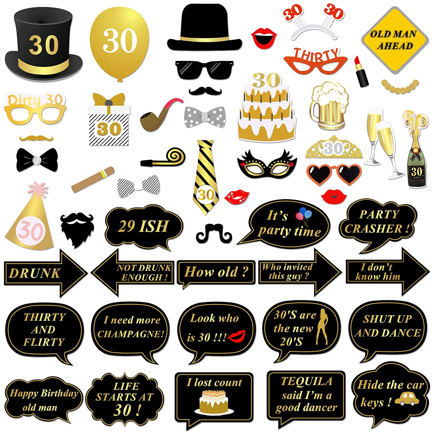 Konsait 30th Birthday Photo Booth Props, 30th Decorations Birthday Party Photo Props Glasses Mask on Stick for Man Woman 30th Birthday Party Decorations Supplies Favours (52Pcs)