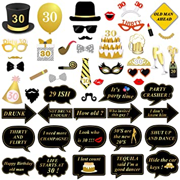 Konsait 30th Birthday Photo Booth Props Decorations Party Glasses Mask On