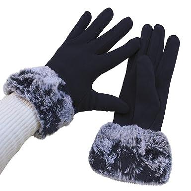 b08d4a95befb6e FERETI Damen Handschuhe Blau Mit Pelz Gefüttert Teddy Dicke Pelzmanschette  Winter Qualität Dunkelblau
