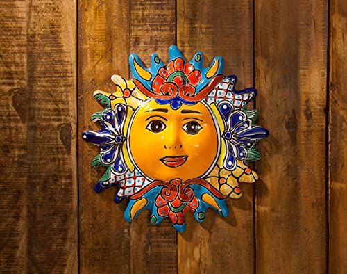 Jayde N' Grey Talavera Pottery Hand Painted Ceramic Sun Wall Plaque Celestial Decor Eclipse Wall Hanging Decoration Art Sun 11.5″