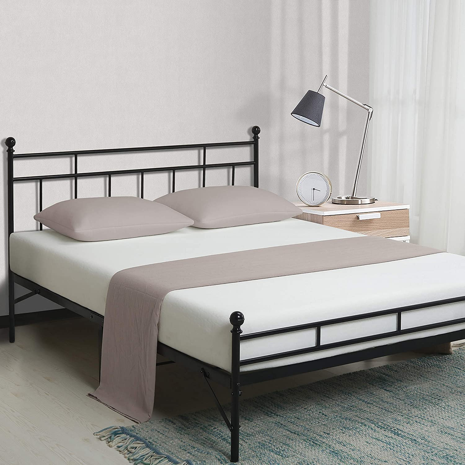 Best Price Mattress Queen Bed Frame – 12 Inch All-in-One Easy Setup Metal Platform Bed w Steel slats and Headboard, Mattress Foundation No Box Spring Needed , Black