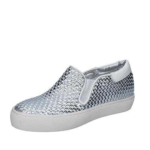 Sara Lopez - Mocasines de Piel sintética para Mujer Plateado Plateado Plateado Size: 36 EU: Amazon.es: Zapatos y complementos