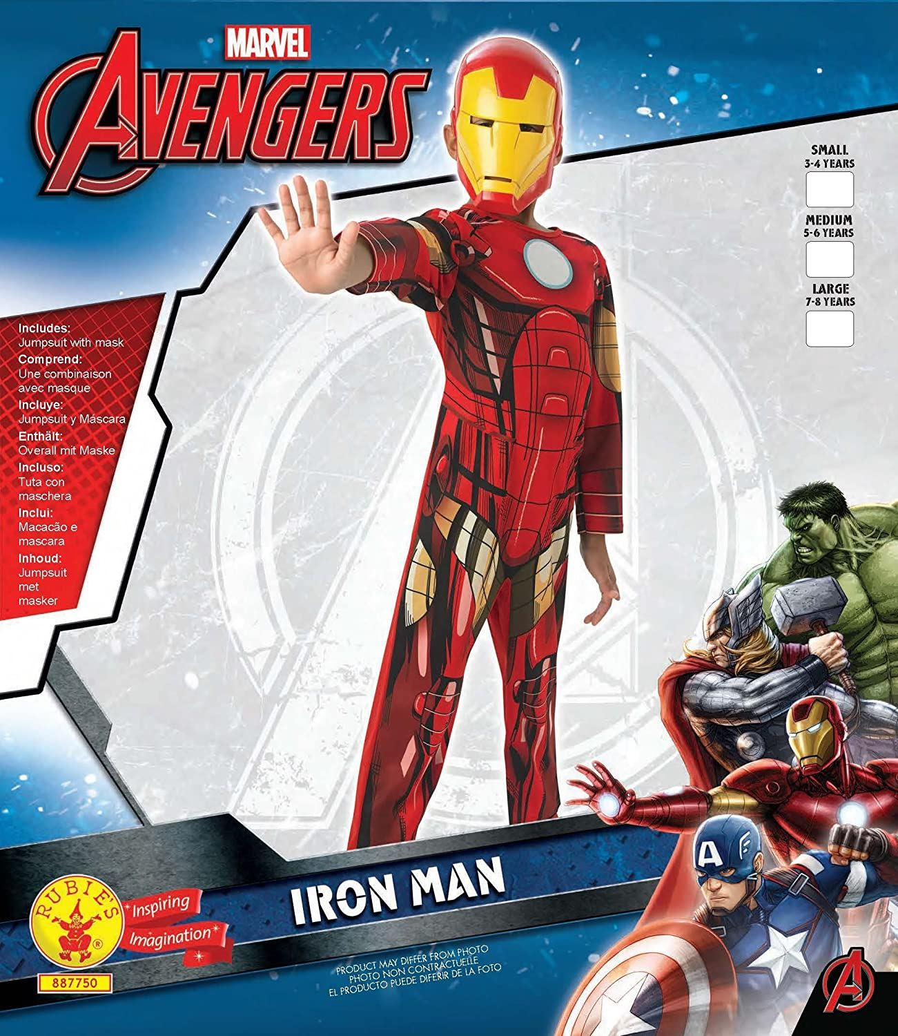 Amazon.com: Marvel Avengers Assemble Iron Man (Classic) - Kids Costume 7 - 8 years: Toys & Games