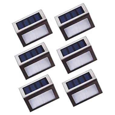 Lightess Solar Stair Lights Outdoor LED Deck Step Lighting Stainless Steel for Paths Patio Pack of 6