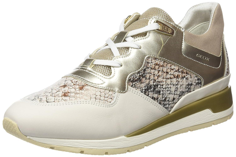 Geox D Shahira B, Zapatillas para Mujer 39 EU|Blanco (Off White/Lt Gold)