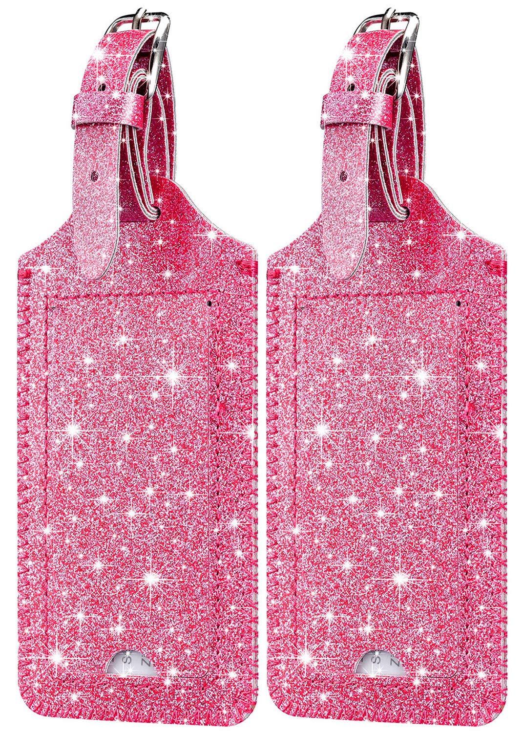 [2 Pack] Luggage Tags - HOTCOOL Leather Luggage Tags Travel Bag Tags, Glitter Pink by HOTCOOL