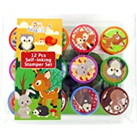 TINYMILLS 12 Pcs Woodland Animals Critters Stamp Kit for Kids Self Inking Stamps Gift Baby Shower Party Favors