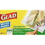 Glad Food Storage Bags, Zipper Sandwich, 200 Count