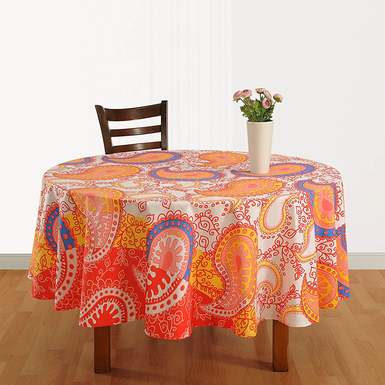 Round Tablecloth 6 Seater Floral Print Indian Decor Cotton 218 Cm ShalinCraft MN-ZRND03-1938