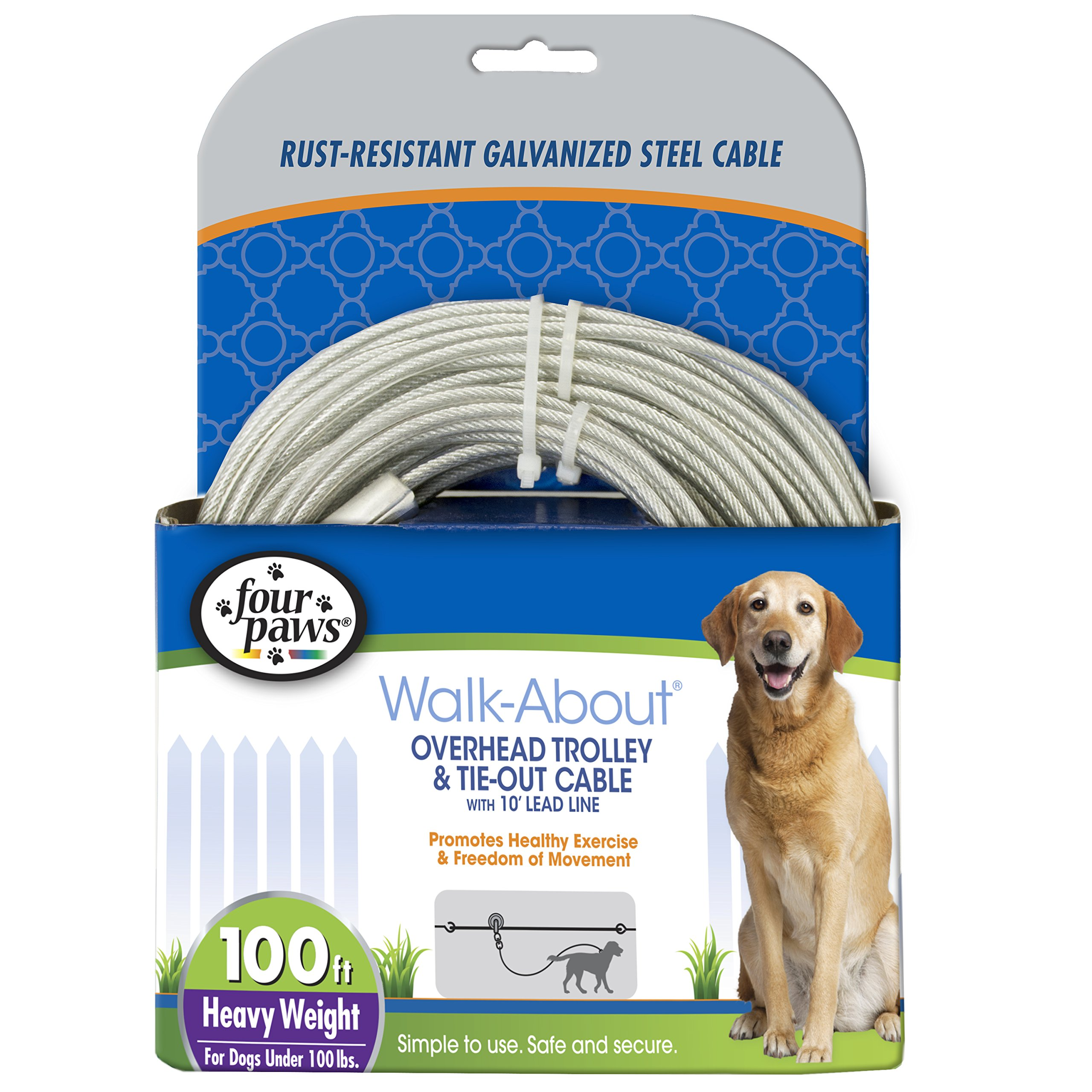 Four Paws Heavy Duty Dog Cable, 100-Foot Large Dog Tie Out Cable, Silver