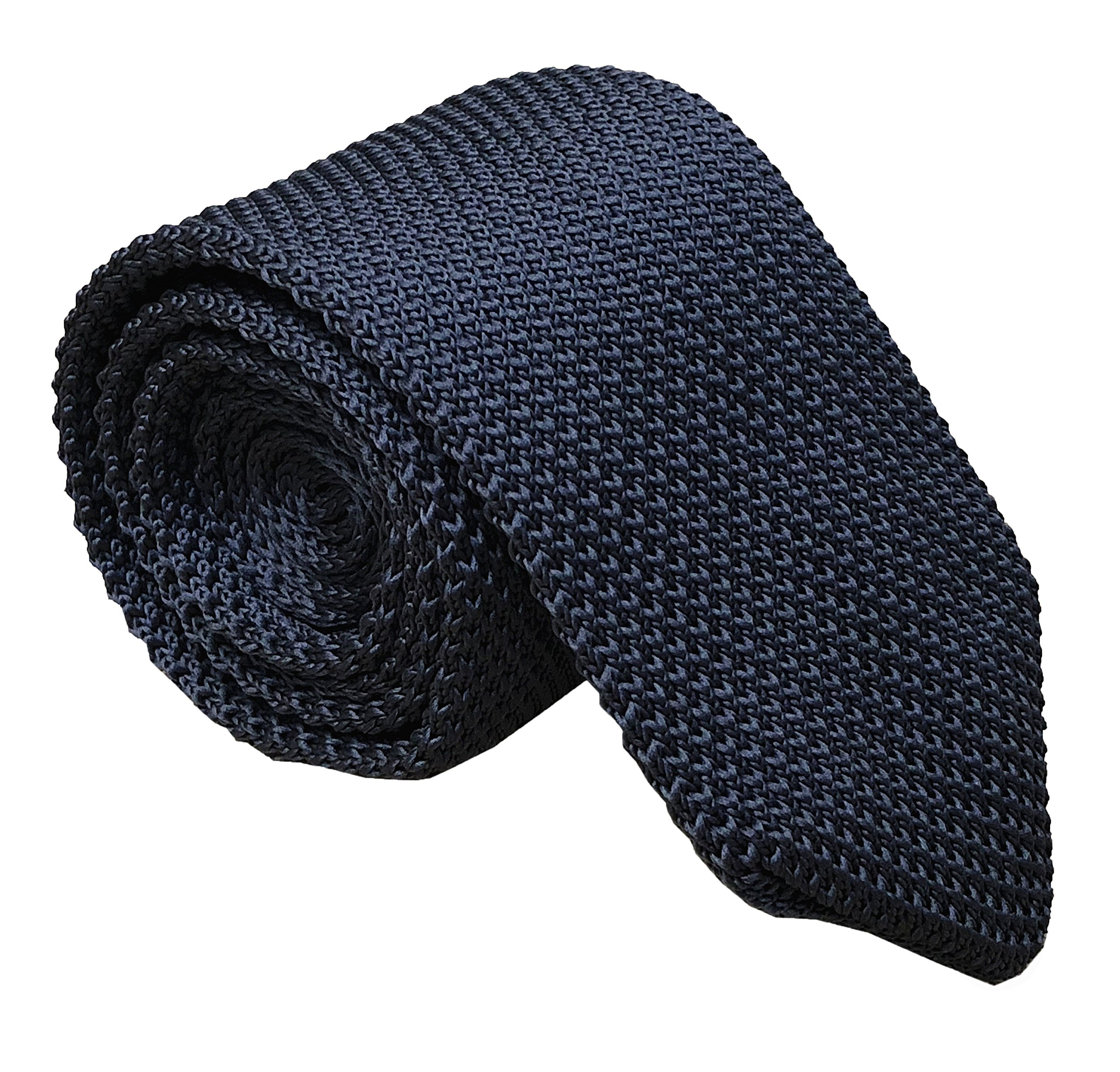 Mens Classic Dark Grey Knit Ties Vintage Woven Casual Stylish Necktie for Gift