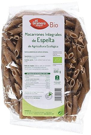 El Granero Integral, Macarones integrales de Espelta, Bio, 500g: Amazon.es: Jardín